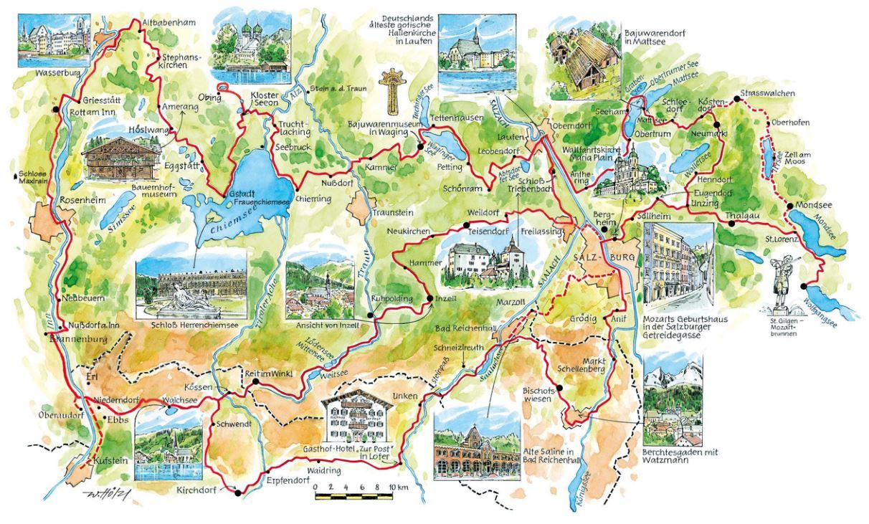 Chiemsee Karte Pdf.übersichtskarte über Den Mozart Radweg Im Salzburger Land Bayern